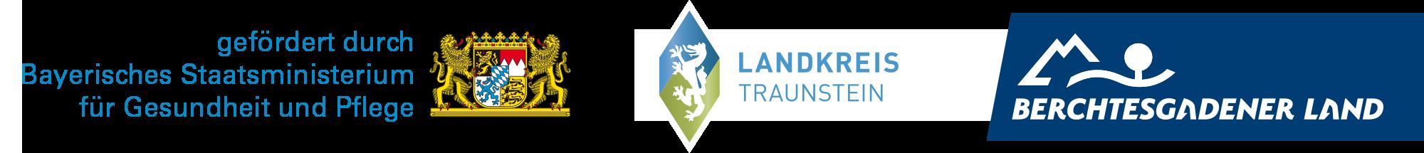 Logos Landkreis Traunstein und Berchtesgadener Land mit Hinweis gefördert durch Bayerisches Staatsministerium für Gesundheit und Pflege